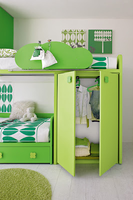 Unique Interior Design Green Bedroom For Kids