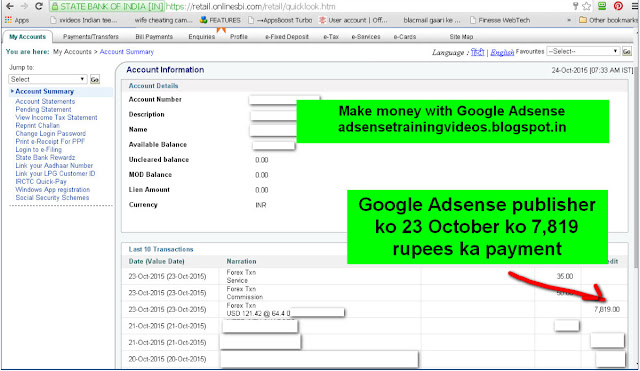 Mere Google Adsense Hindi Training DVD customer ko mila 23 October 2015 ko 7819 rupees ka payment-see internet banking screenshot