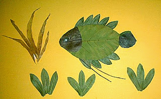 prakarya kolase ikan gurame dari daun kering