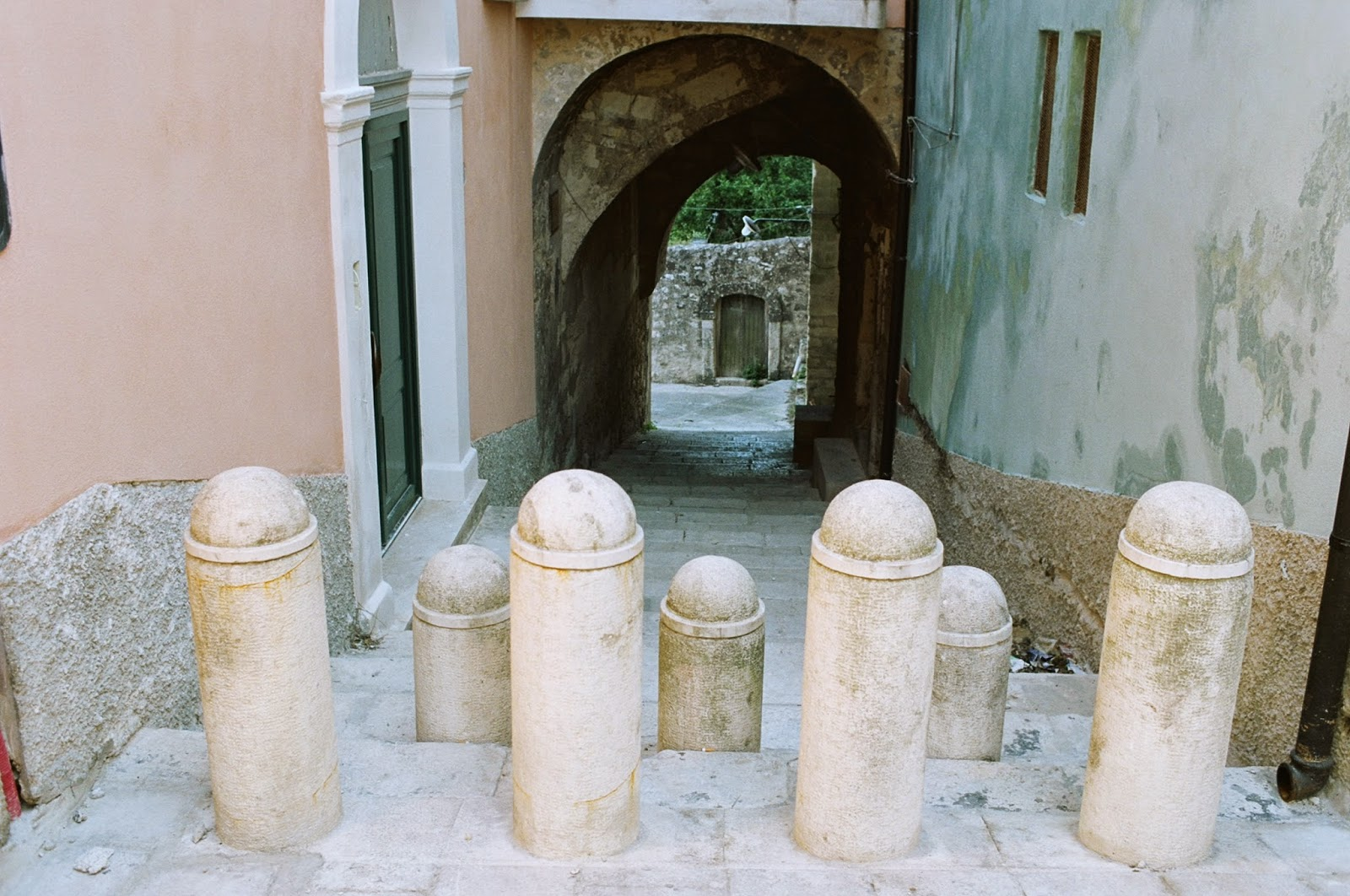 BOLLARDS, NO ENTRY, INSPECTOR MONTELBANO, ANDREA CAMILLERI, SICILY, RAGUSA, PHALLIC SYMBOLS, CIVIC CONTROL, STREET FURNITURE, ACCESS DENIED, RAGUSA, SICILY  © VAC 100 DAYS 4 MILLION CONVERSATIONS