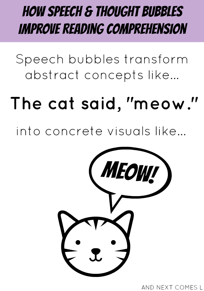 How speech & thought bubbles improve reading comprehension, especially for children with autism and hyperlexia from And Next Comes L