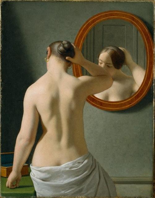 C.W. Eckersberg: En nøgen fra ryggen set kvinde sætter sit hår foran et spejl