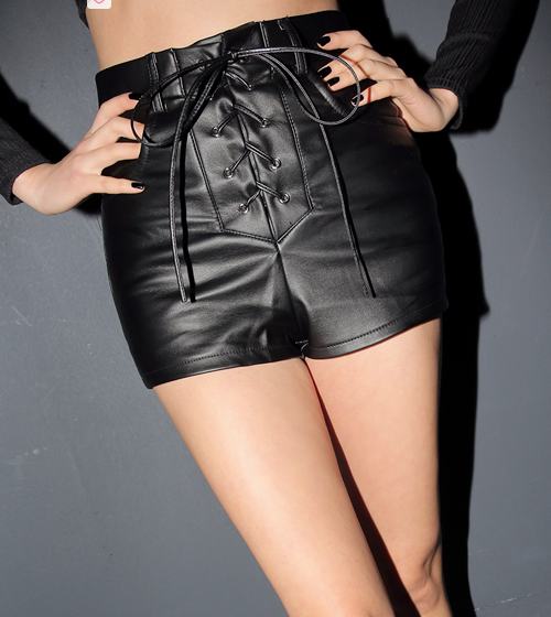 Lace-UP Faux Leather Shorts