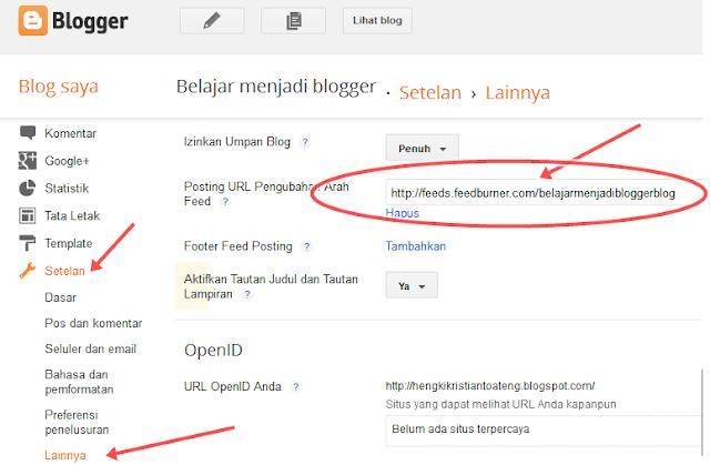 cara memasang feedburner ke blog