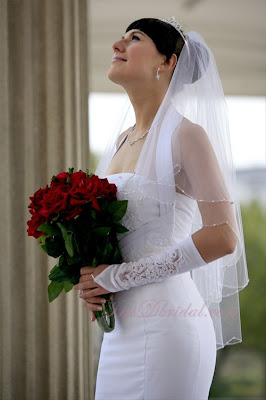 2+Tier+Fingertip+Crystal+Rhinestone+Beaded+Wedding+Veil