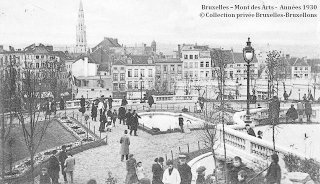 Monts des Arts - Bruxelles disparu - Esplanade supérieur du Mont des Arts - Vue vers le centre ville - Bruxelles-Bruxellons