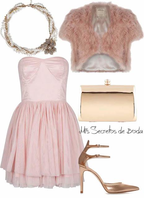 Look para Nochevieja.Vestido rosa y complementos dorados