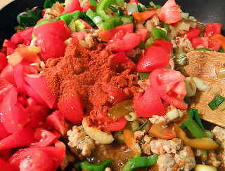 Tomatoes and Paprika Added to Frying Pan