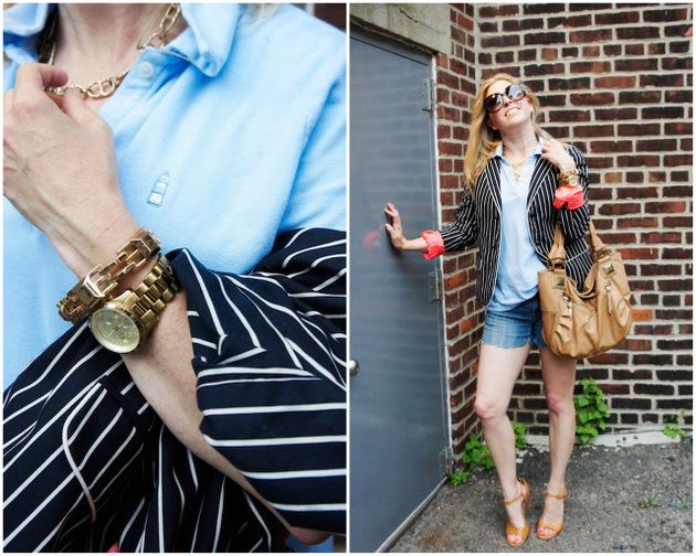 striped blazer and polo shirt