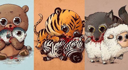 Artista transforma predadores em animais fofinhos