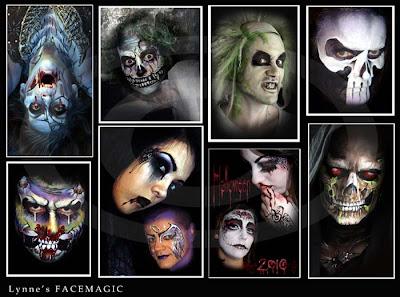 A selection of face painting zombies, Beetle-Juice, Beetlejuice, blue death skeleton, skull face, dark angel, grim reaper and white sugar skull