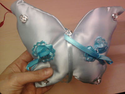 Wedding ring cushion handmade Main fabric satin Colour light blue also