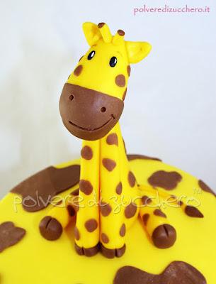torta decorata pasta di zucchero cake design giraffa compleanno bimba 2 anni polvere di zucchero