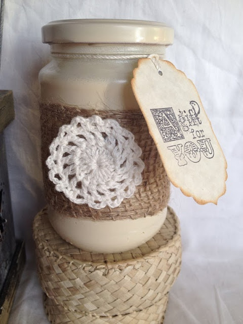 White Tea & Sage, soy jar candle, decorated