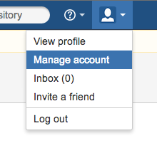 Click settings > Manage Account