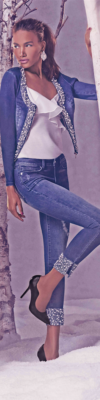 BEBE embellished denim and bling cuff crop jeans