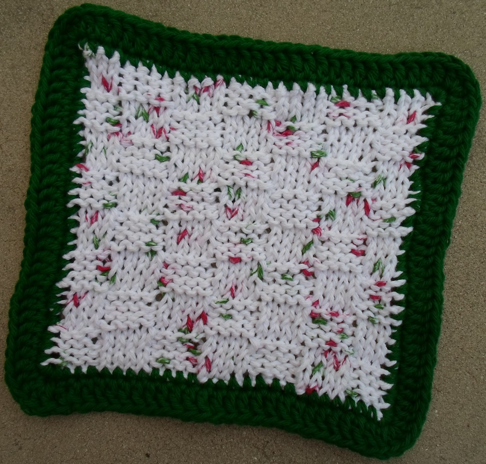 Happier Than A Pig In Mud: Basket-Weave Knit Dishcloth with Crochet Border