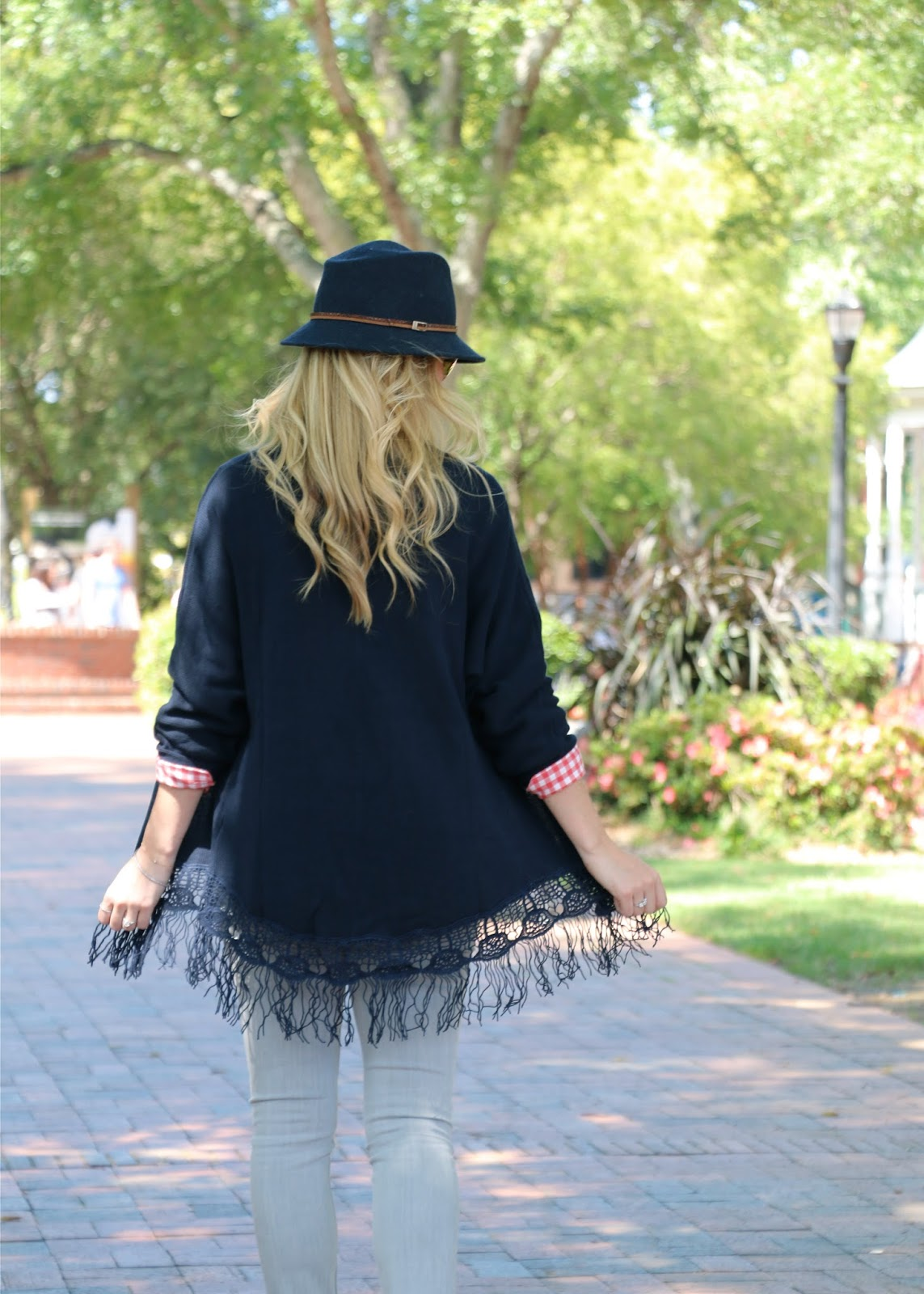 navy fringe sweater