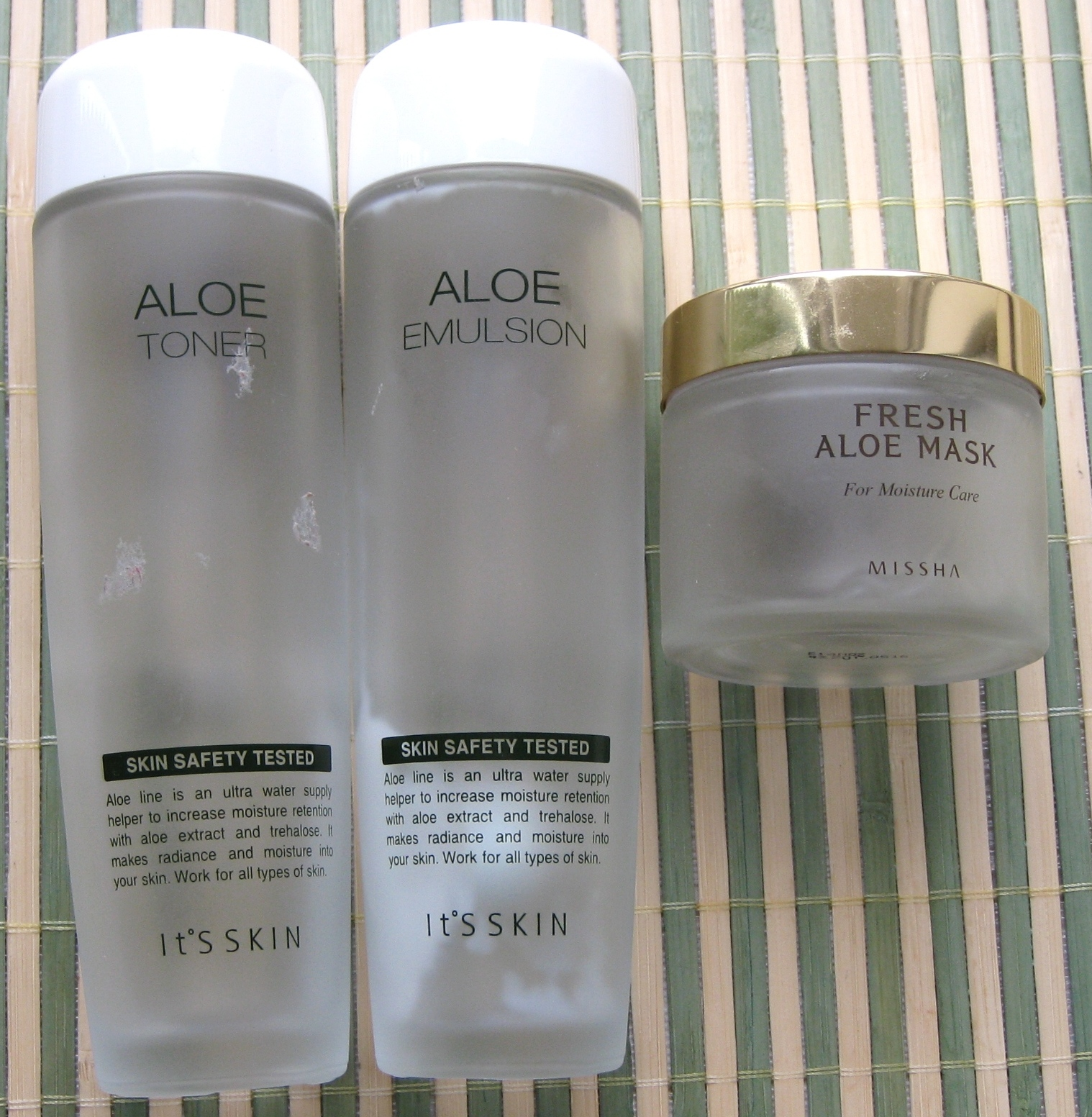 It's Skin Aloe Emulsion, It's Skin Aloe Toner, MISSHA Fresh aloe mask