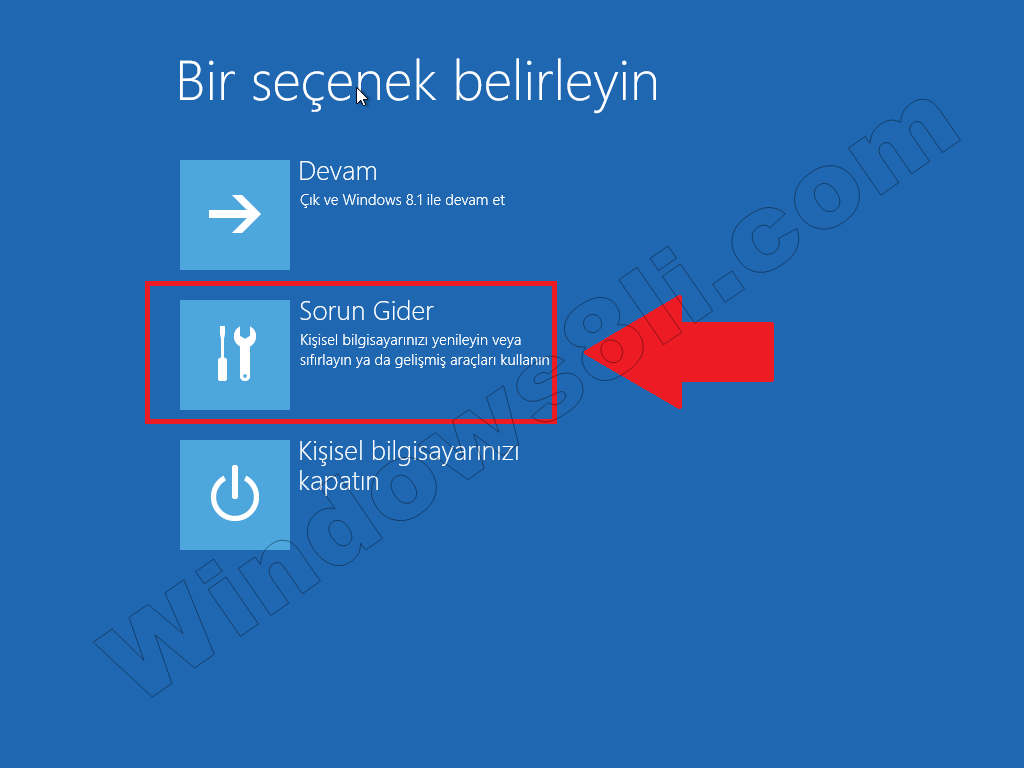 Windows 8 Sorun Gider Güvenli Mod
