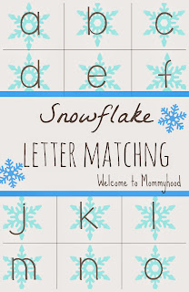 Free Printables: Snowflake Letter Matching {Welcome to Mommyhood} #winteractivitiesforkids, #montessori, #freeprintables, #toddleractivities