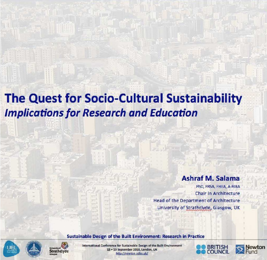 Keynote:SD-BE 2018: The Quest for Socio-Cultural Sustainability: Implications for Research and Educ