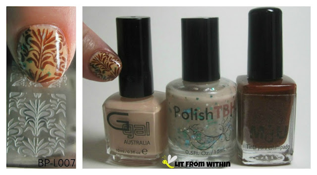 Bottle and plate shot:  Born Pretty L002, Glitter Gal Tan Line, PolishTBH Brandy's Mermaid Mixer, and MdU Brown.