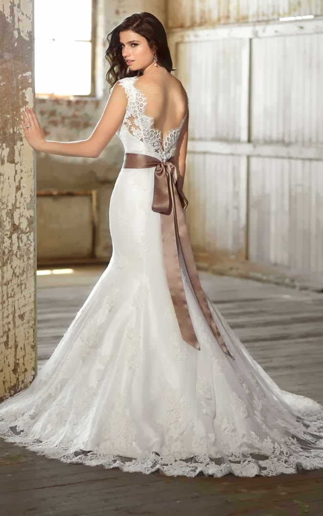 Lace Cap Sleeve Wedding Dress with Romantic V-Shaped Back
