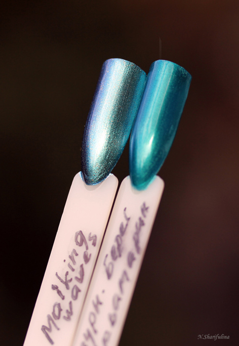 OPI This Colors Making Waves и Аквамарин от Dr. Pierre Ricaud