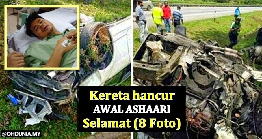 Sekitar kemalangan Awal Ashaari, kereta 'hancur', Awal selamat (8 Foto)