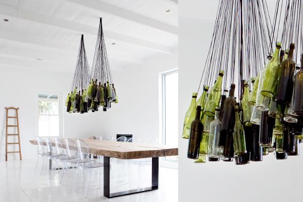 Lag en knalltøff lysekrone av vinflasker!