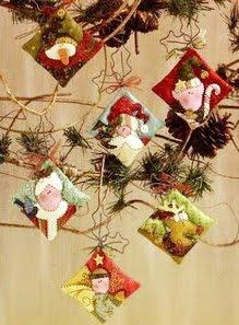 Enfeites para árvore de natal de feltro - molde