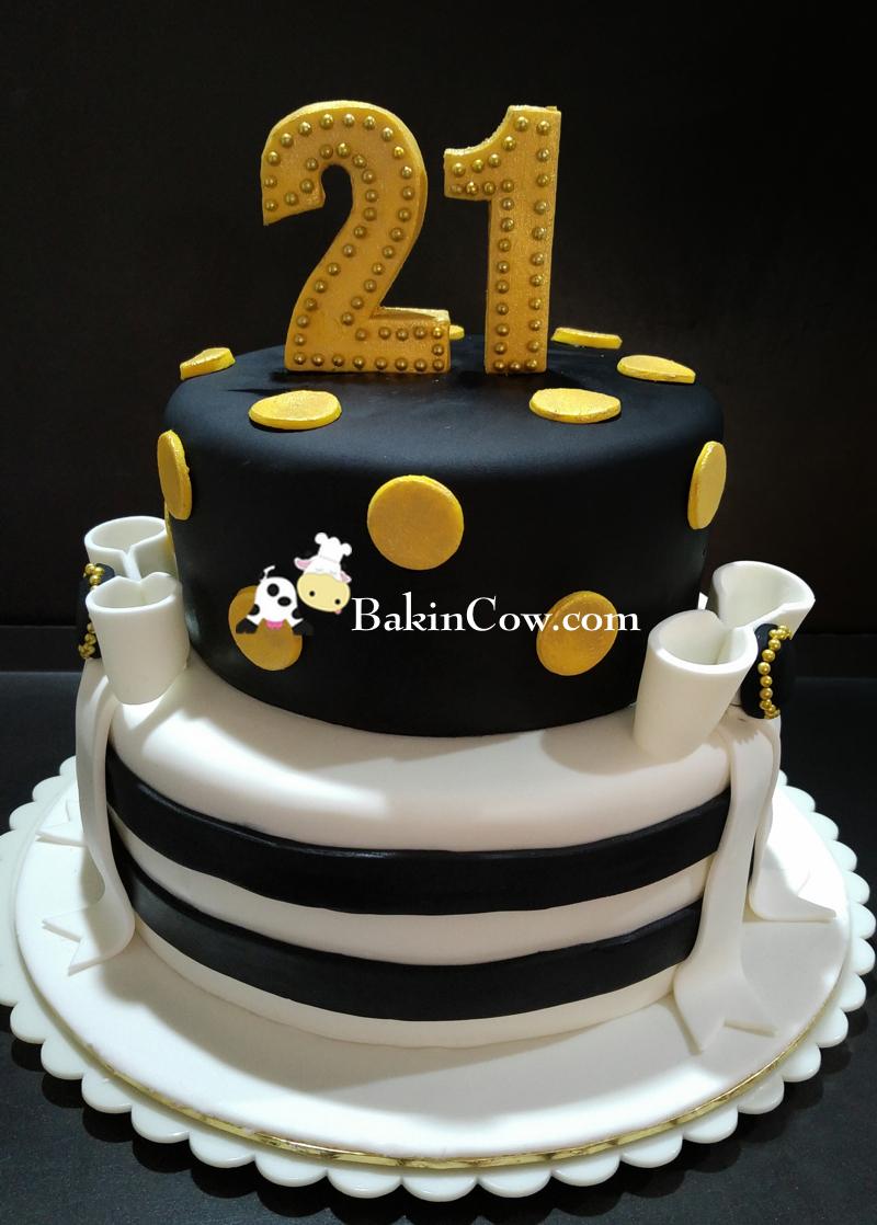 21st Birthday Elegant Birthday Cake BakinCow