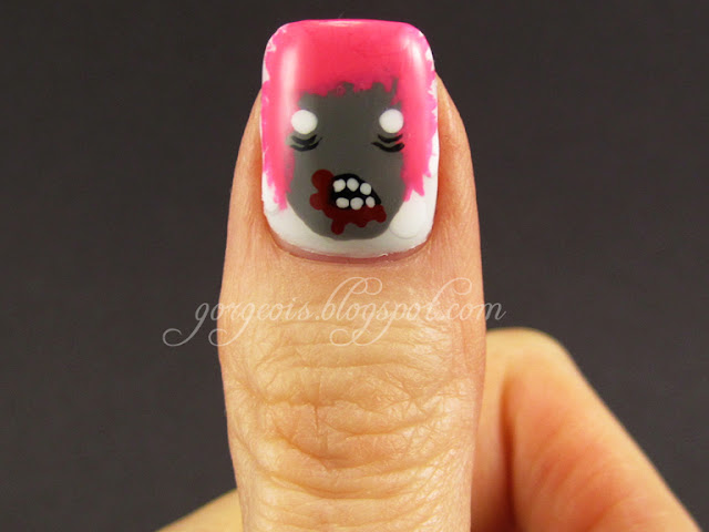 Ingrid of Guten Monsters - Zombie nail art