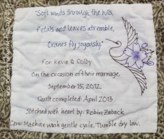 Haiku Quilt - label