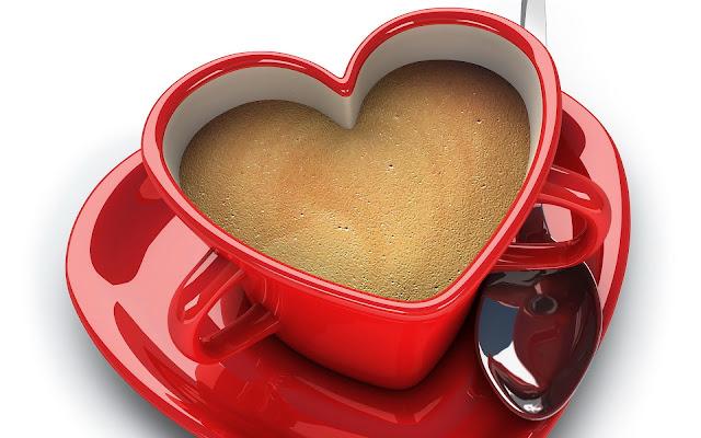 Liefde wallpaper met een rood kopje koffie