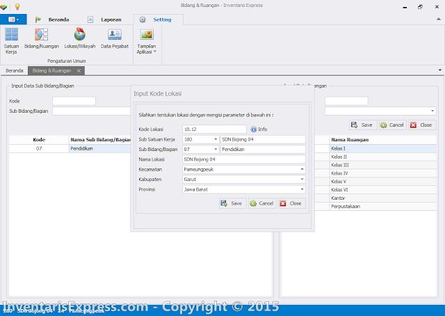 Input Data Kode Lokasi - Aplikasi Invetaris Express