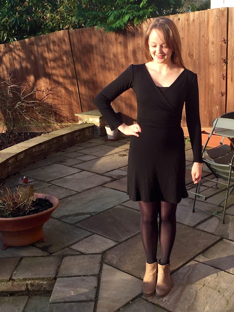 Diary of a Chain Stitcher: Black Merino Wool Sew Over It Ultimate Wrap Dress