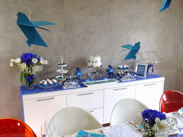 Créastelle Party sweet table colombe origami vue 3/4