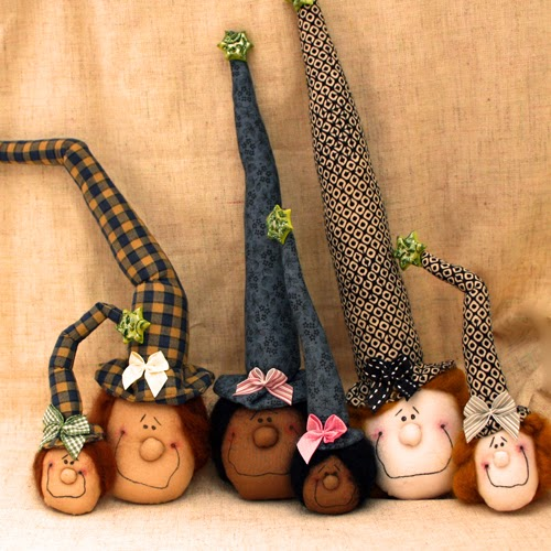cloth art doll witch heads
