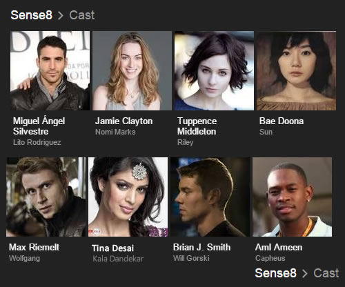 Sense8 cast pics with character names and actors' names under each pic