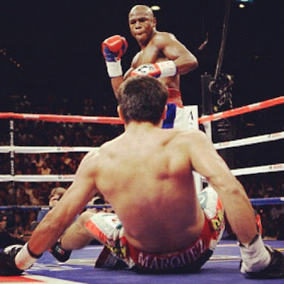 Marquez vs Mayweather knock down