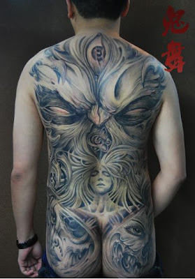 full back portrait tattoo design