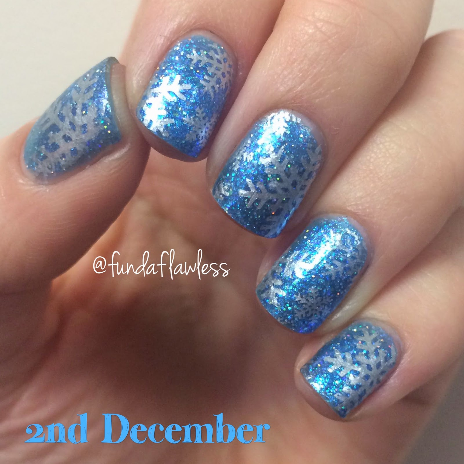 Blue Glitter and Silver Snowflakes MoYou Festive Collection