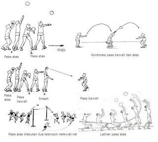 Ada 5 tekni dasar bermain bola voli seperti Servis, Pasing, Smash