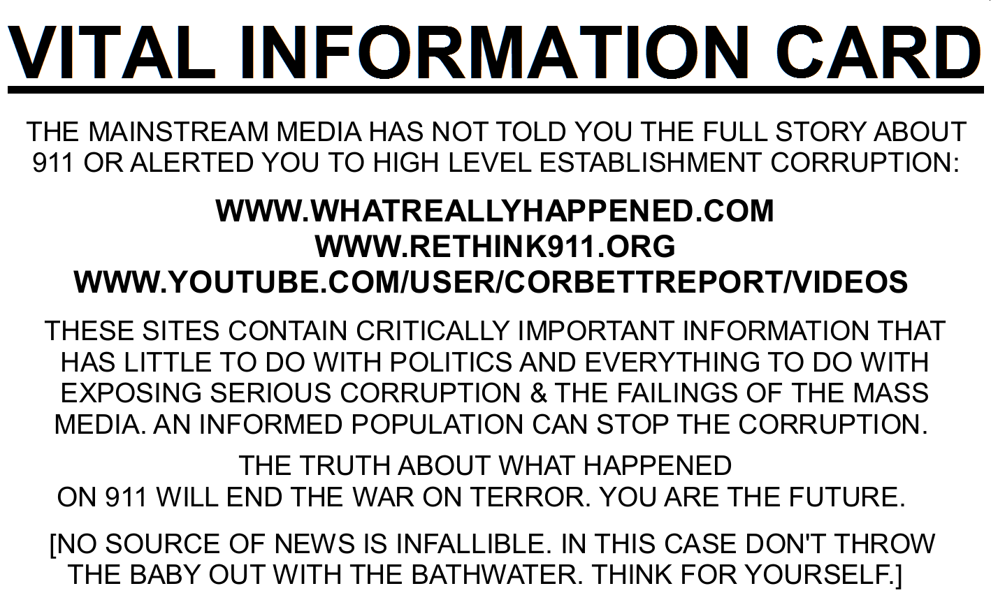911 Truth and Anti-Corruption Vital Information 'BUSINESS CARD': Street Action Promo Material