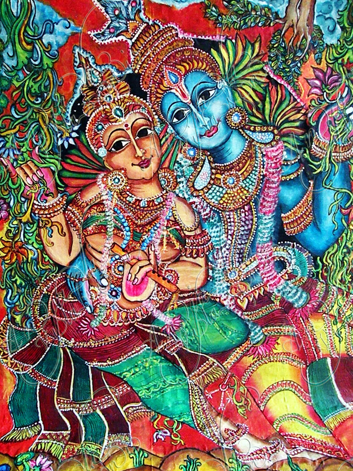Anjali vilasini radha krishna fabric painting on saree for Mural radha krishna