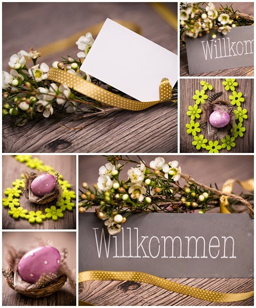Flower and easter eggs on wood - Stock Photos Download