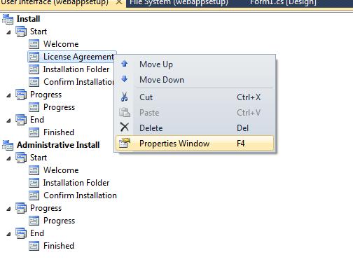 Properties window in setup project