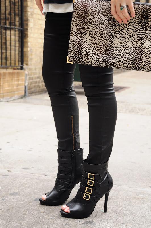 biker heel boots and animal print clutch